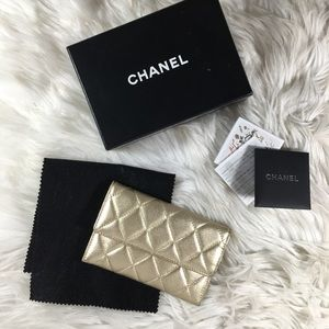 Chanel Gold Irridescent Quilted Wallet Lambskin